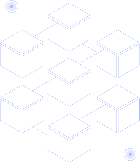 Graphics of blue cubes conected to each other