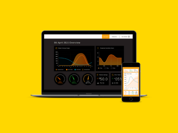 A mock up of the laptop showing the UI of the application for the solar company
