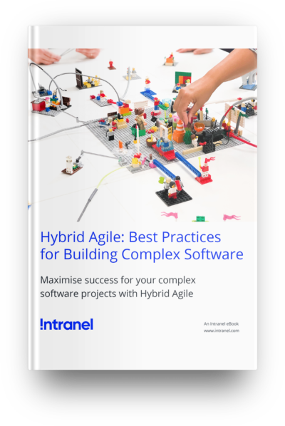 "White ebook cover with the title ""Hybrid Agile: Best Practices for Building Complex Software"""