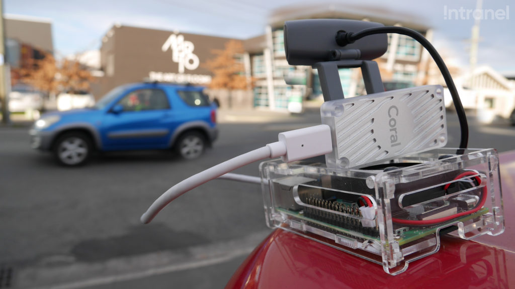 Google's beta Coral accelerator hardware in combination with a Raspberry Pi and camera module.