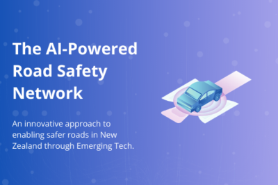 """Banner with purple background, title """"The AI-Powered Road Safety Network"""" and graphics of a car"""