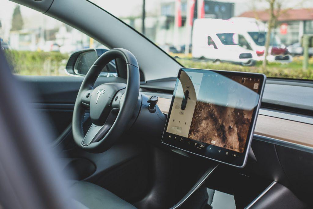 Inside of the Tesla car