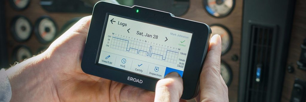 An example of improving road safety through data is ERoad's 'Guardian' system that monitors driving and fatigue to provide feedback to professional drivers.