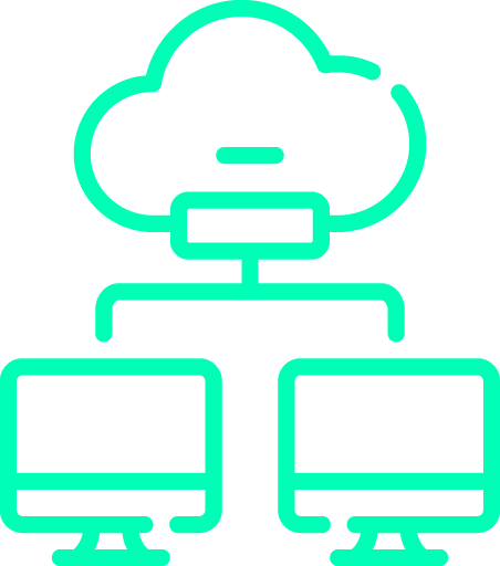 Neon green graphics of the cloud