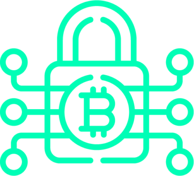 Neon green graphics of the lock and bitcoin